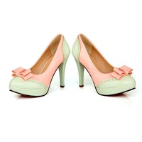 Charm Foot Fashion Bows Womens Platform High Heel Stiletto Mary Jane Pump Dress Shoes