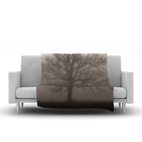 "Angie Turner ""Lonely Tree"" Dark Fog Fleece Throw Blanket"