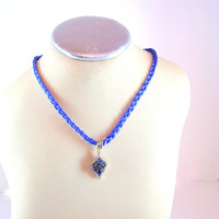 10% Off Blue Sapphire Pendant, White Topaz Accents, September Birth Stone, Cobalt Blue Gift, Silk Braided Cord, Necklace, Magnetic Clasp
