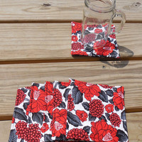 Drink Coasters, Red Black Floral Fabric Coasters, Cotton Fabric Coasters,Coaster Set