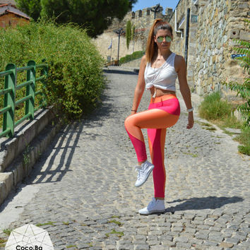 Womens Leggings, Orange - Fuschia Leggings, Activewear, Athletic Pants, Sports Pants, Stretch Leggings, Spandex Leggings, Christmas Gift