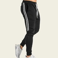 Men Drawstring Waist Side Tape Pants