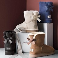 """""""UGG"""" Women male Fashion Wool Snow Boots side edge bowknot Sand white"""