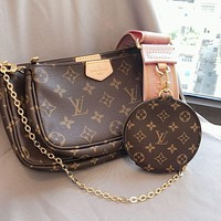 Louis Vuitton LV Hot Sale Classic Ladies Full Letter Three-piece Mahjong Bag Diagonal Bag