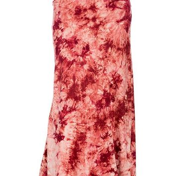 Red Tie-Dye Maxi Skirt