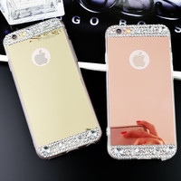 Womens Girls Makeup Mirror Case Handmade Cover for iPhone 7 7Plus & iPhone se 5s 6 6 Plus +Gift Box