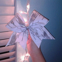 White/Silver Sequin Cheer Bow