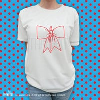 Red Bow handwritting T Shirt Top short sleeve TShirt Tee Shirt Tee Shirts Size - S M L XL XXL 3XL