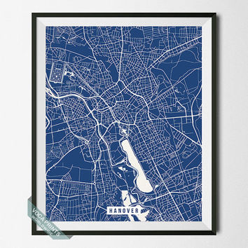 Hanover Print, Germany Map Poster, Hanover Street Map, Germany Print, German Map Print, Room Decor, Modern Print, Back To School