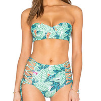 Tree Leaves Pattern Bikini Bandage Push Up Swimwear