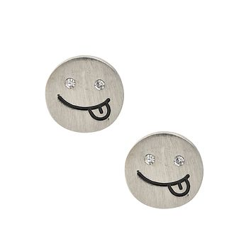 Matte Finish Emoji Savouring Delicious Face Earrings