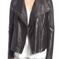 Trouvé Drape Front Leather Jacket | Nordstrom