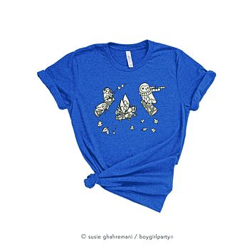 Owl Campfire Graphic Tee for Women / Girls -- Relaxed Fit
