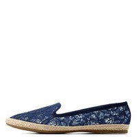 Navy Slip-On Lace Espadrille Flats by Charlotte Russe