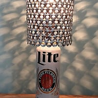 Miller Lite Retro Throwback 24 oz Beer Can Lamp with Pull Tab Lamp Shade