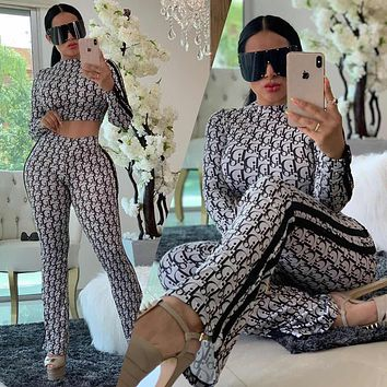 Dior new women's casual fashion letter printing long-sleeved shirt + trousers two-piece suit