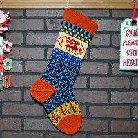 Christmas Stocking in Orange, Hand Knit Fair Isle Christmas stocking with Reindeer and Trees, Heirloom Stocking, can be personalized