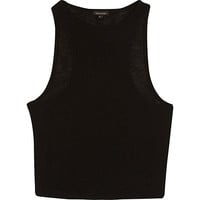 River Island Womens Black racer back crop top