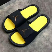 NIKE Jordan Hydro Casual Fashion Women Man Sandal Slipper Shoes black-yellow logo H-PSXY