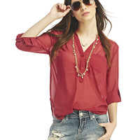 Lace Inset Chiffon Popover Top   Wet Seal