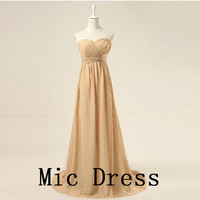 Best sale sweetheart sleeveless chiffon Corset pleated long prom/Evening/Party/Homecoming/cocktail /Bridesmaid/Formal Dress