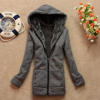 PLUS VELVET LONG-SLEEVED HOODED SWEATER COAT LOOSE from chiccasesandhomeproducts