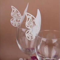 Cute 50 pcs Table Mark Wine Glass Cards Favor Butterfly Name Place Party Wedding POP prosperitybenefit [7982890631]