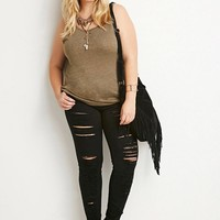 Plus Size Distressed Skinny Jeans