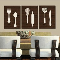 KITCHEN Wall Art, Canvas or Print Wood Utensils Decor, Fork Spoon Knife Tools Wall Decor, Rustic Decor, Country Dining Room, Set of 3