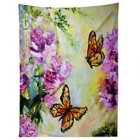 Ginette Fine Art Butterflies and Peonies Tapestry