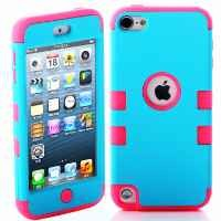 MagicSky Plastic + Silicone Tuff Dual Layer Hybrid Armored Case for Apple iPod Touch 5 5th Generation - 1 Pack - Retail Packaging - Hot Pink/Blue