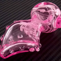 Pink Glass Pipe Cute Twisted Disc Design with Clear Marble Bumps and White Accents - Unique Girly Smoking Bowl