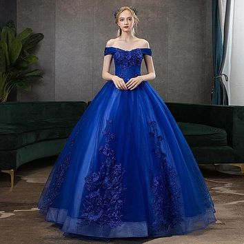 Gryffon Quinceanera Dresses Party Prom Off The Shoulder Ball Gown Classic Lace Embroidery Vintage Quinceanera Dress Plus Szie