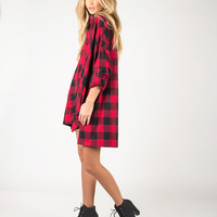 Oversized Checkered Shirt Dress - Red - Small