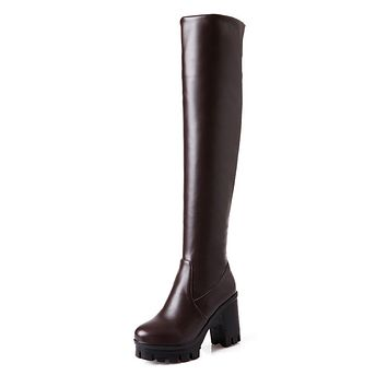 Tall Boots Platform Chunky Heels Winter Shoes for Woman 6179