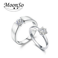 925 Sterling Silver Rings with CZ Diamond Couple Wedding Ring Sets His and Her Matching for Couple jewelry 2015 new R142