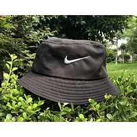 NIKE classic big hook embroidery summer sunscreen couple casual fisherman hat F-AG-CLWM Black