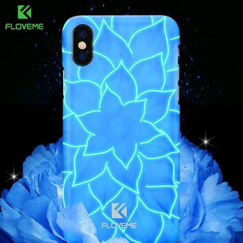 FLOVEME Water Lily Flower Patterned Case For iPhone X 10 8 7 Luminous Light Blue Lotus PC Cases For iPhone 8 7 Plus Accessories