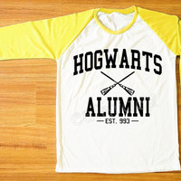 Hogwarts Alumni T-Shirt Harry Potter T-Shirt Hogwarts Shirt Yellow Sleeve Shirt Women Shirt Men Shirt Unisex Shirt Baseball Tee Shirt S,M,L