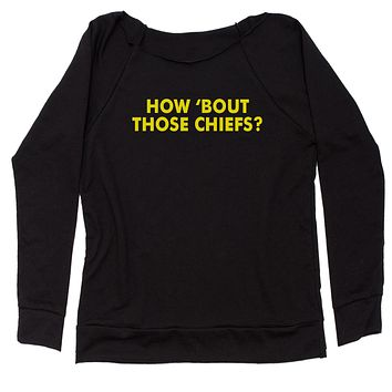 How Bout Those Chiefs? Slouchy Off Shoulder Oversized Sweatshirt