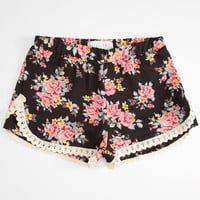 Full Tilt Bouquet Floral Girls Shorts Black Combo  In Sizes