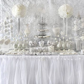 White Tulle Tablecloth, tutu tablecloth, tutu tablecloth, tulle table skirt we can do custom size and color