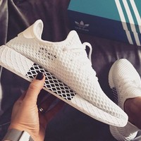 Adidas Deerupt Running Shoes Runner Trifolium Mesh Sneakers   White Surface White+black logo