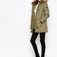 Vero Moda Tall Padded Parka Coat With Faux Fur Trim