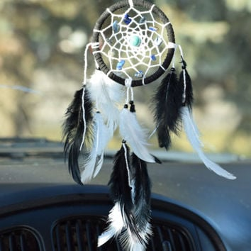Car Dream catcher Black and White,  Car Charm, Mini Dreamcatcher, LAPIS LASULI, Turquoise stone , Gift for him, Car Decor.