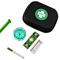 The Happy Kit - All in One Smoking Pouch /Case for Tobacco Smoker - Includes Herb Grinder, Rolling Paper+filter