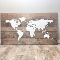 Large Rustic Wood World Map
