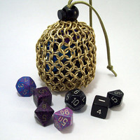 dicebag, chainmaille pouch, change purse.  DND, dungeons and dragons, dice.