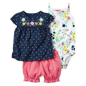 Baby girl clothes set kids babes clothing summer set red colors floral baby romper style Sets bodysuit