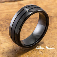Black Tungsten Ring with Brushed Satin Center Inlay ( 8mm width, Barrel style)